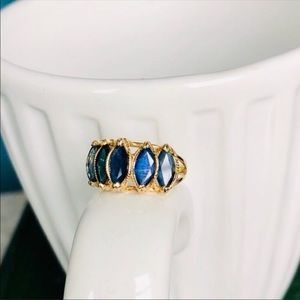 Vintage Sapphire Marquise 5 stone 14k gold ring